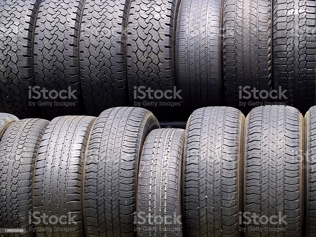 Rows of tires on display stock photo