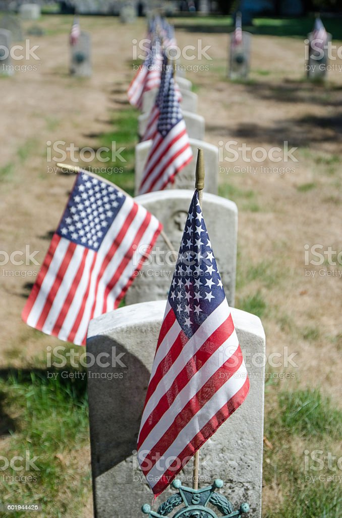 Rows of tombstones of American Veterans from 1812 war stock photo