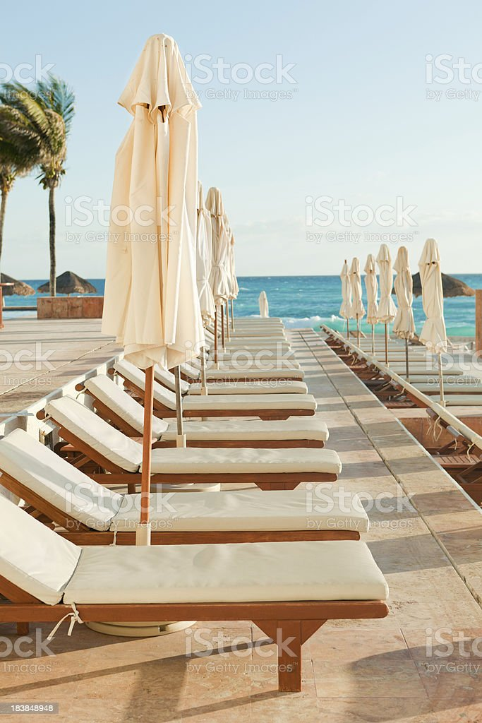 Rows of Tourist Resort Lounge Deck Chairs at Caribbean Seaside royalty-free stock photo