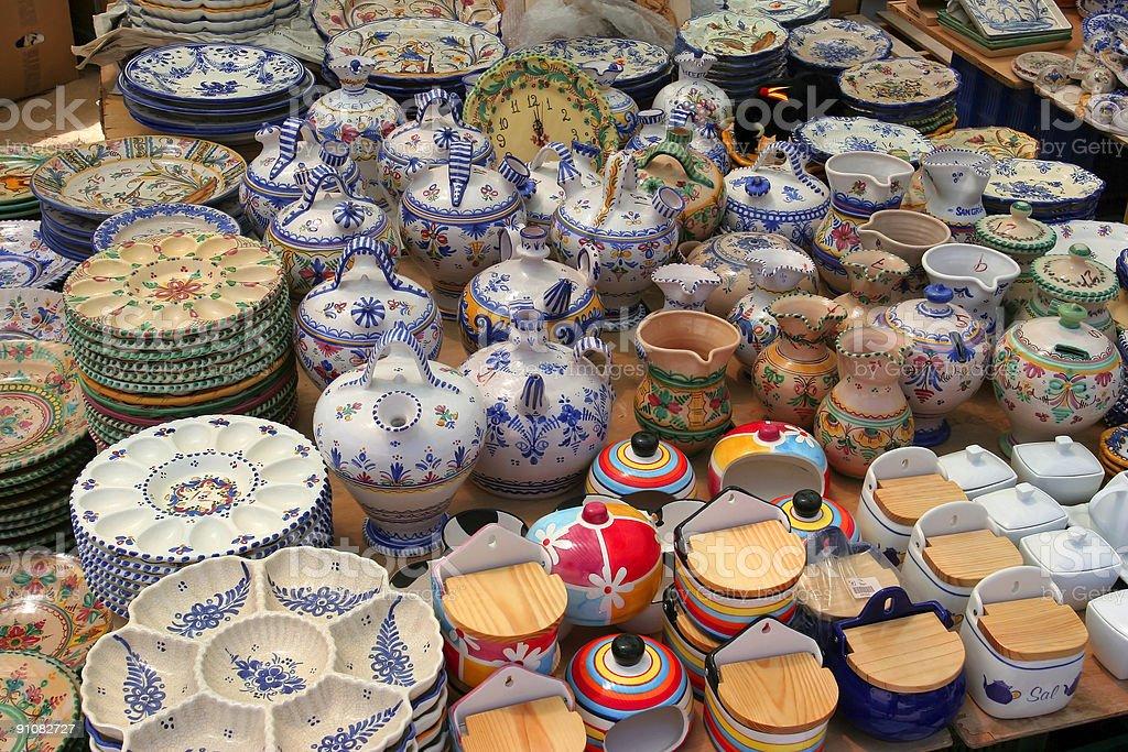 rows of valenica pottery stock photo