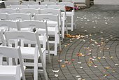 Rows of White Chairs After the Wedding in Vancouver, Canada