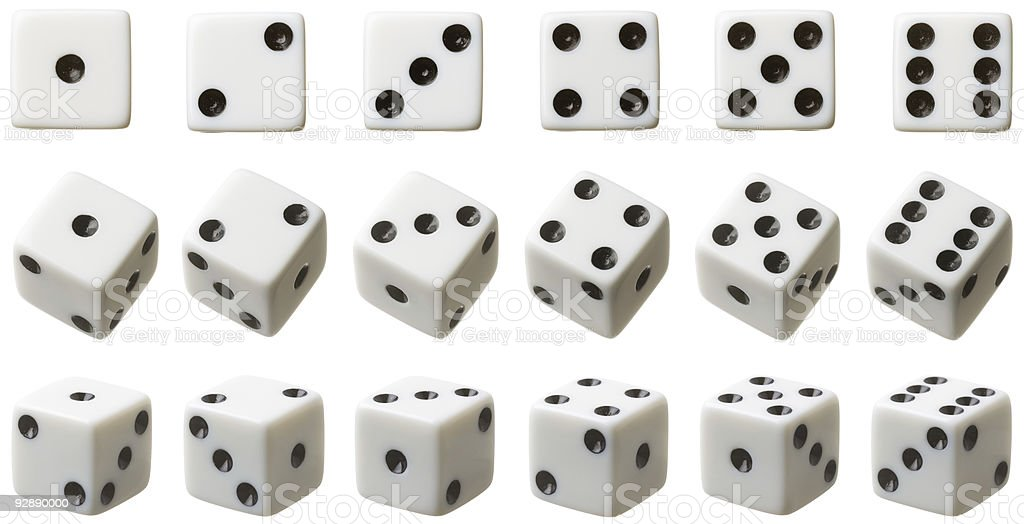 3 rows of white dice each set at different angles stock photo