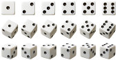3 rows of white dice each set at different angles