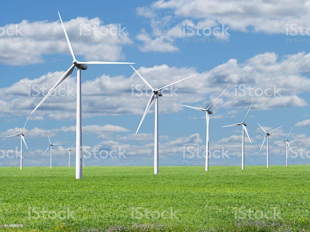 Rows of Wind Turbines Renewable Sustainable Alternative Energy Landscape Sky stock photo