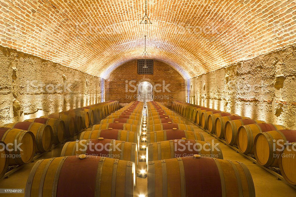 Rows of Wine Barrels in a Cellar stock photo