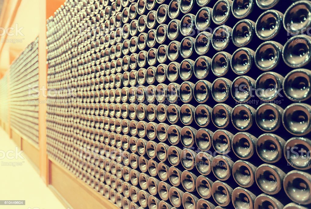 Rows of wine  bottles stock photo
