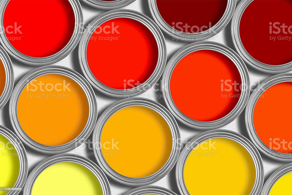 Rows or orange and red tins of paint on white royalty-free stock photo