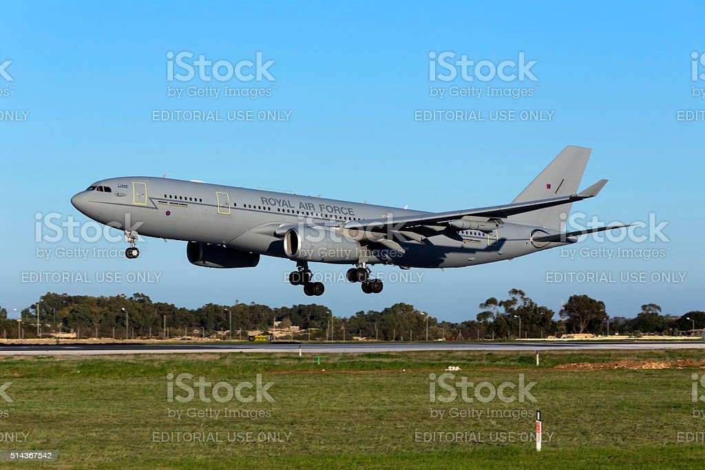 Royal Air Force Airbus refuelling tanker landing in the evening. stock photo