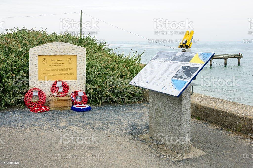 Royal Air Force memorial near Omaha Beach stock photo