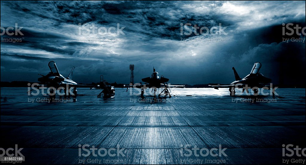 Royal Air Force RAF Typhoon Eurofighter, runway, dramatic stormy clouds. stock photo