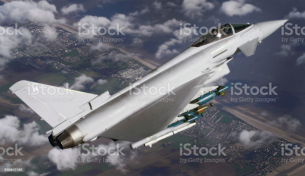 Royal Air Force RAF Typhoon fighter Eurofighter jet aerial air stock photo