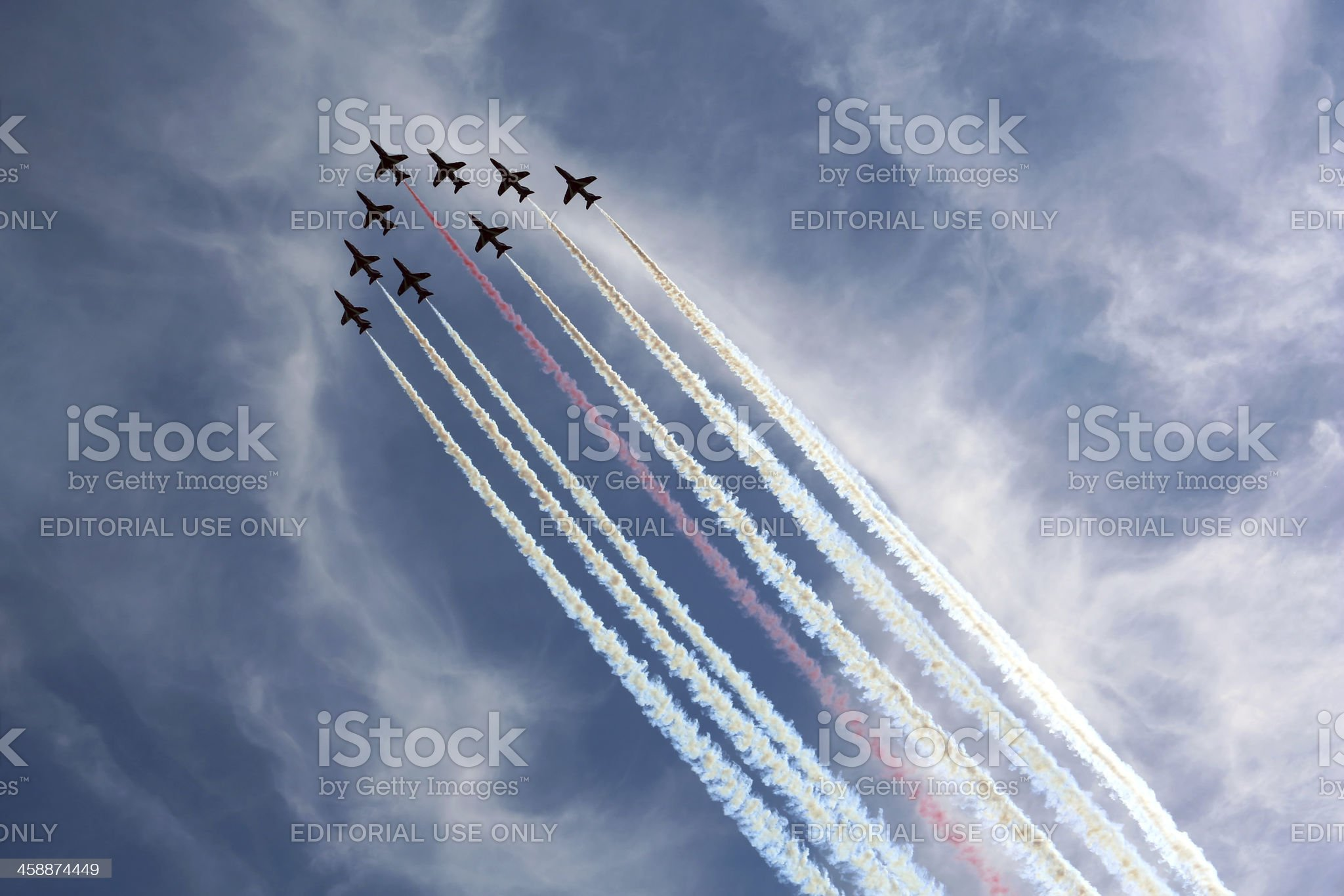 Royal Air Force Red Arrows aerobatic display team royalty-free stock photo