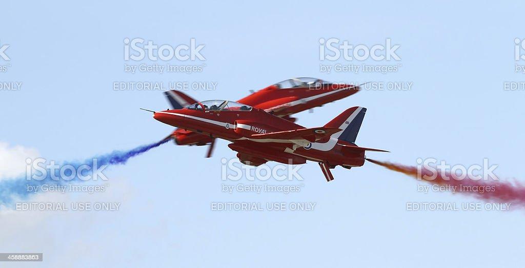 Royal Air Force Red Arrows aerobatic display team stock photo