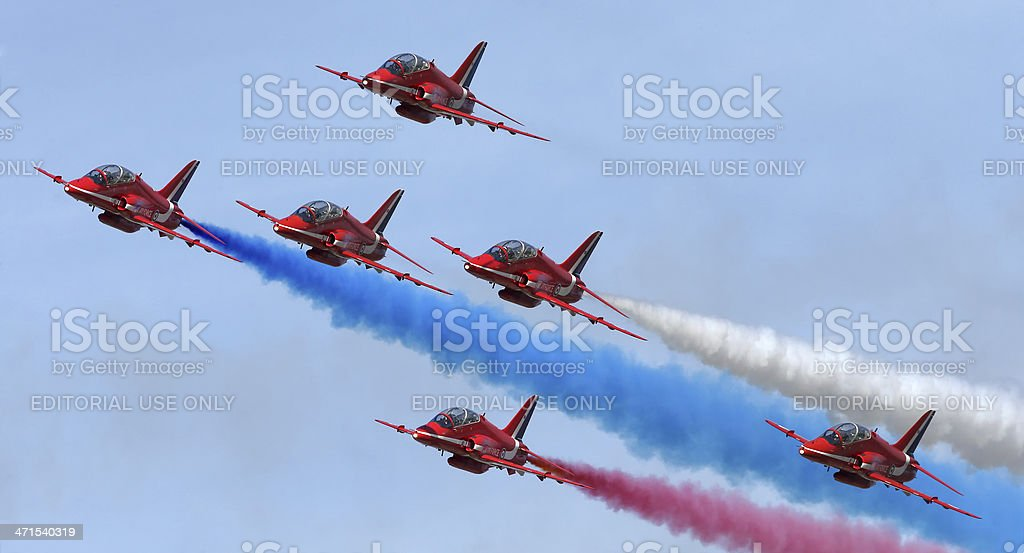 Royal Air Force Red Arrows aerobatic display team stock photo