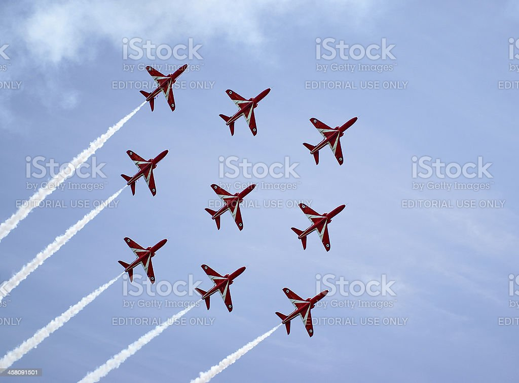 Royal Air Force Red Arrows Display Team royalty-free stock photo