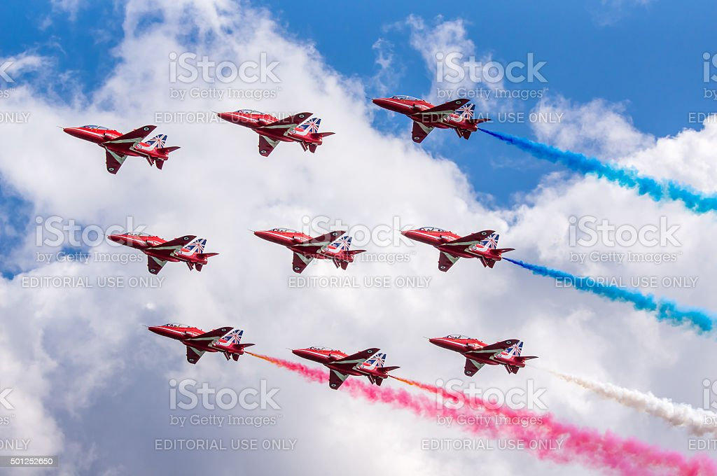 Royal Air Force Red Arrows Display Team stock photo