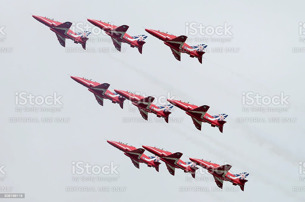 Royal Air Force Red Arrows stock photo