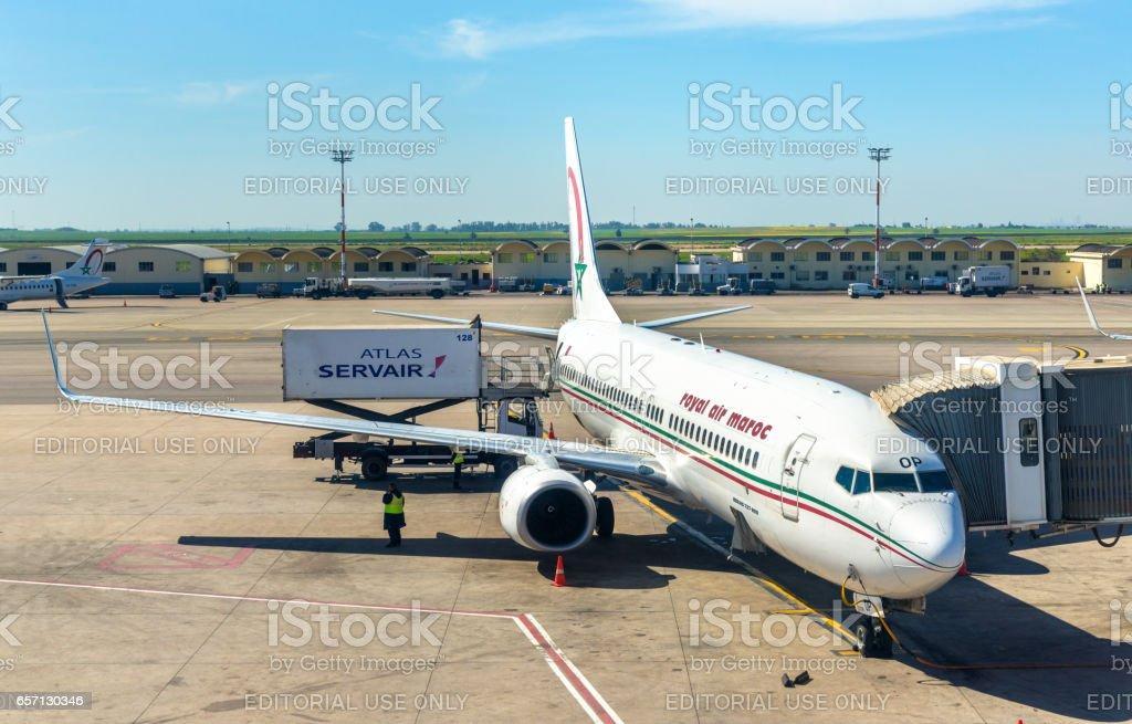 Royal Air Maroc aircraft in Casablanca Airport stock photo