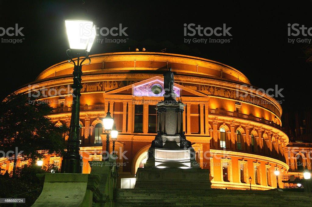 Royal Albert Hall at night in Kensington, London, England, UK stock photo