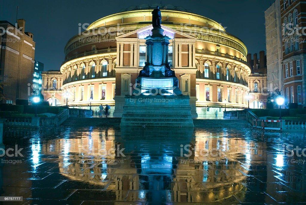 Royal Albert Hall at night. stock photo