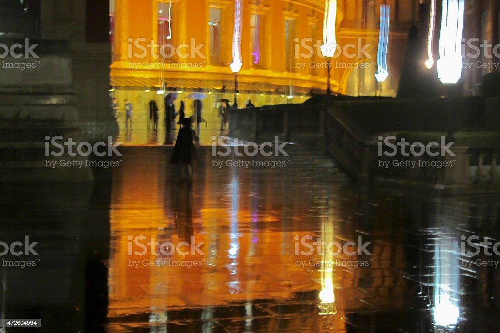 Royal Albert Hall during a rainy evening stock photo