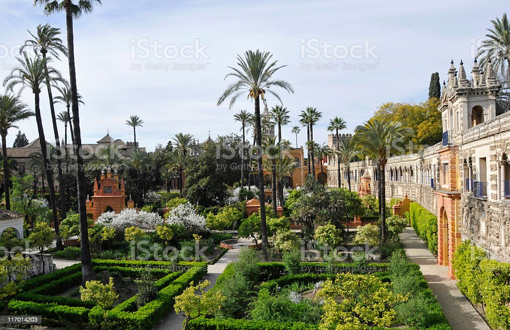 Royal Alcazar gardens stock photo
