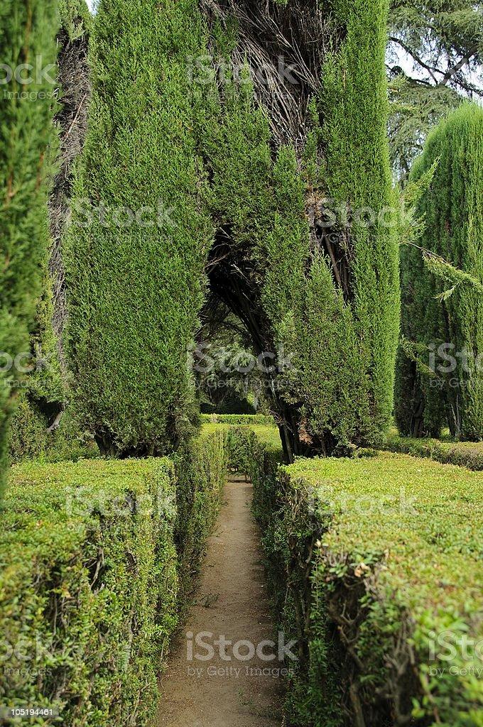 Royal Alcazar, Seville: maze in the gardens royalty-free stock photo