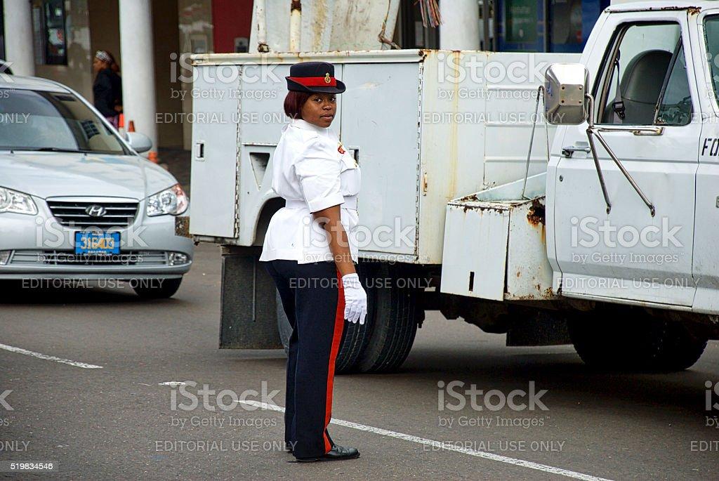 Royal Bahamas Police Force, Female, Directing Traffic stock photo