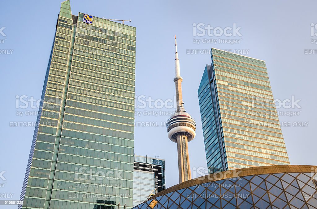 RBC Royal Bank of Canada skyscrapers with CN tower stock photo
