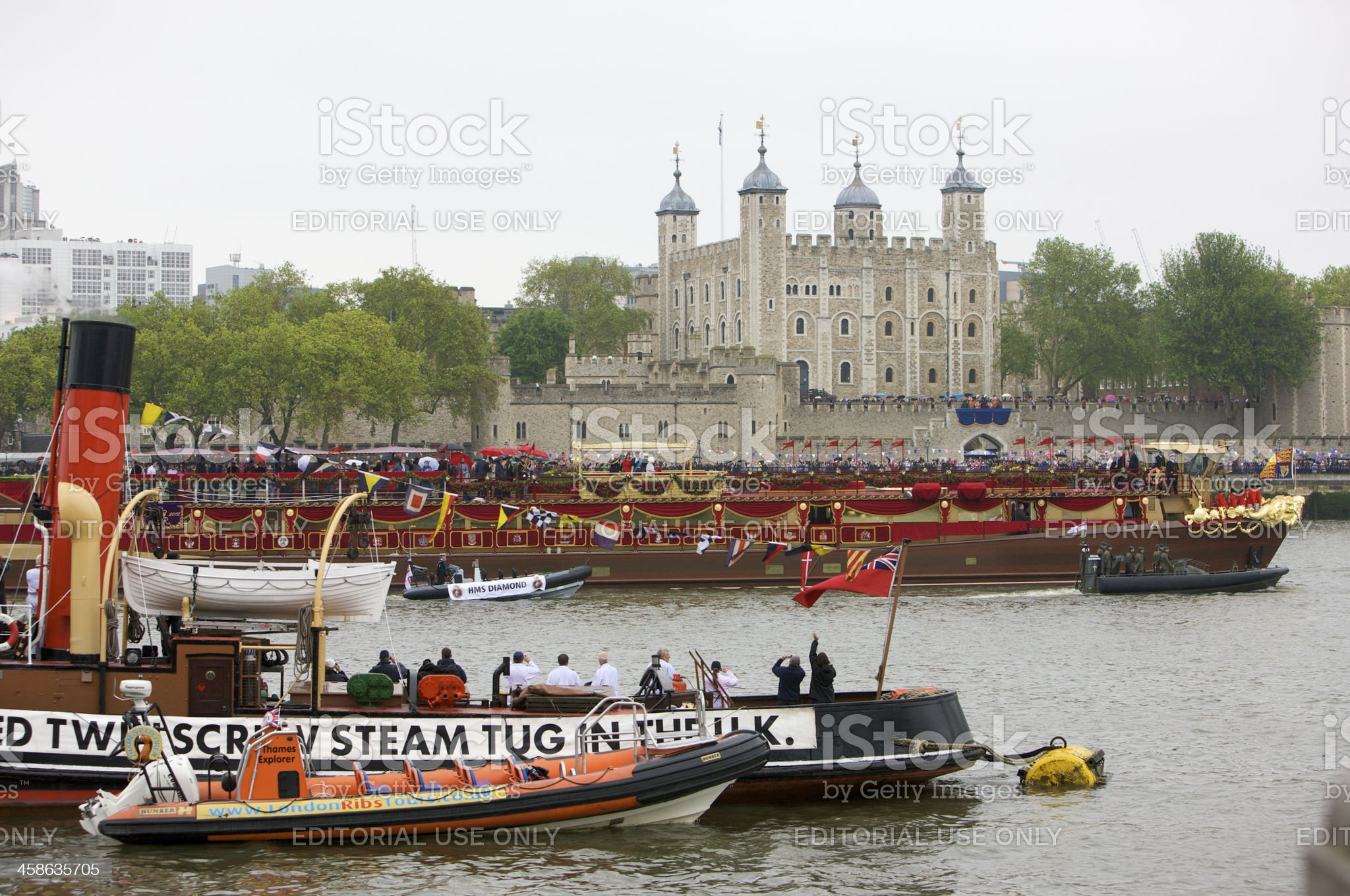 Royal Barge at the Queen's Diamond Jubilee River Pageant royalty-free stock photo