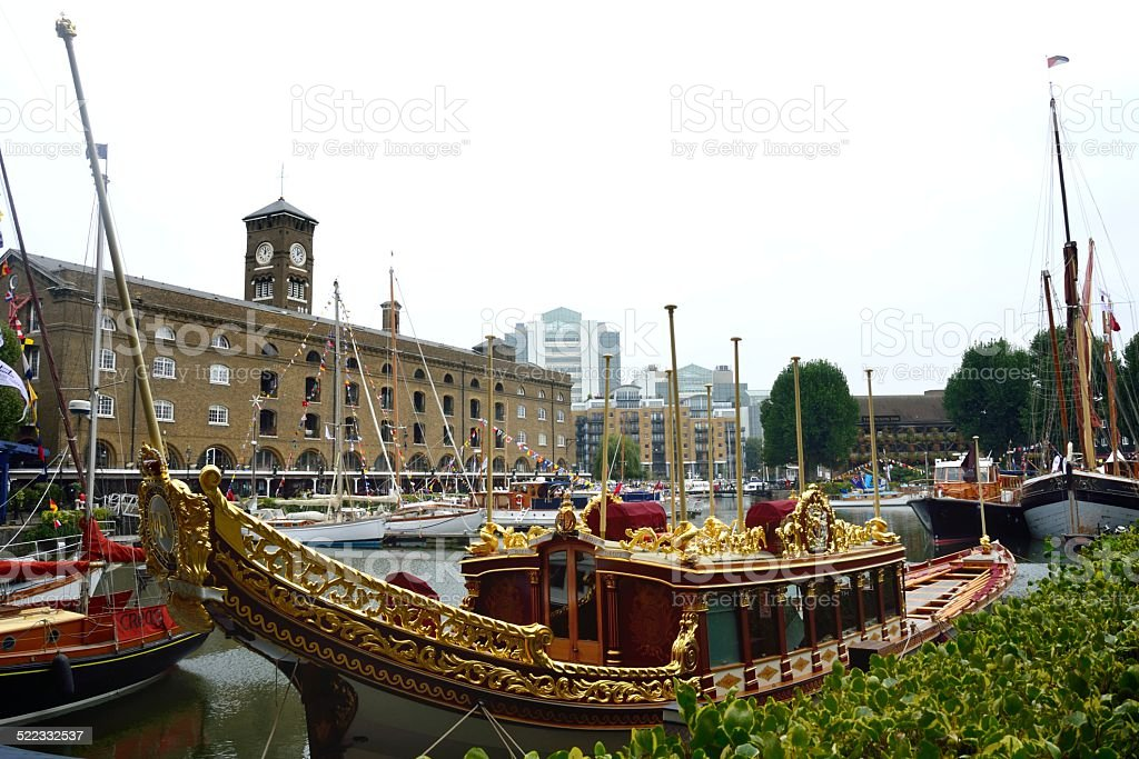 Royal barge gloriana at st Catherines dock stock photo