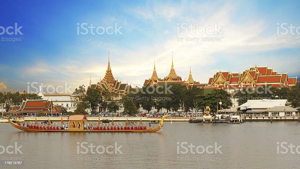 Royal barge procession exercise in Thailand stock photo