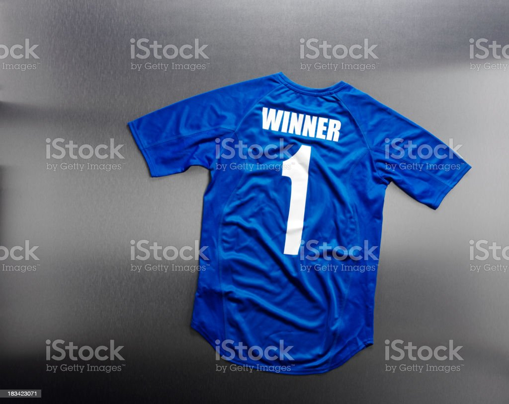 Royal Blue Football Shirt with Number One stock photo