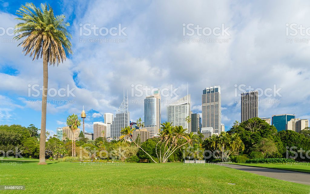 Royal Botanic Garden with cityscape of Sydney, Australia stock photo
