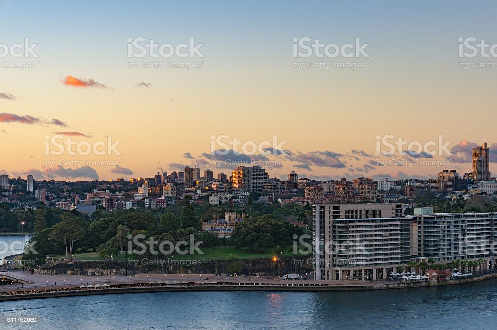 Royal Botanic Gardens with Potts Point and Woolloomooloo suburbs stock photo