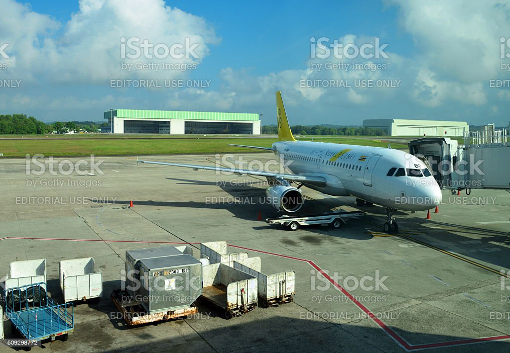 Royal Brunei Airlines jet at the Brunei International Airport stock photo