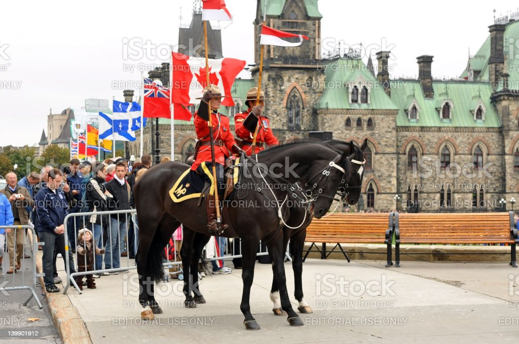 Royal Canadian Mounted Police on Parliament Hill royalty-free stock photo