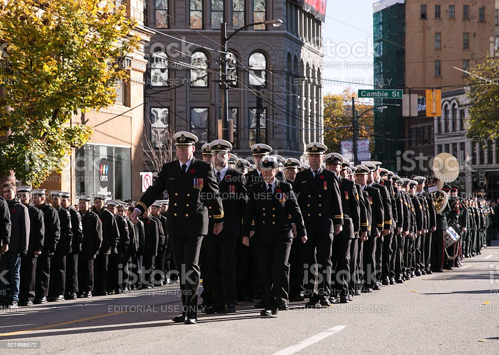 Royal Canadian Navy Marching stock photo