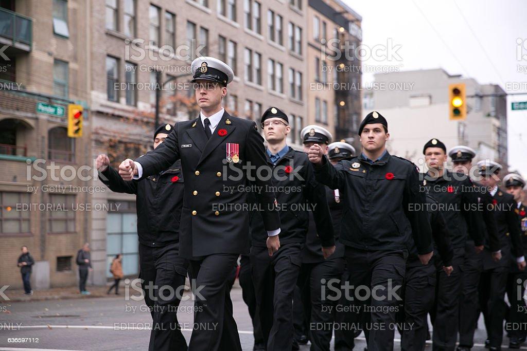 Royal Canadian Navy sailors on parade stock photo