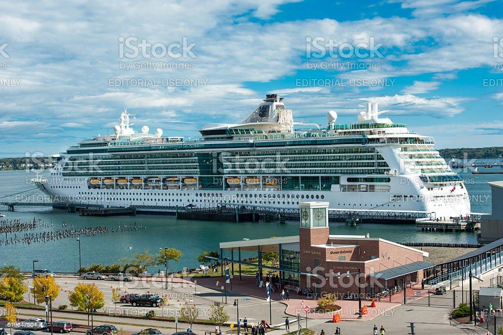 Royal Caribbean cruise ship Serenade of Seas in Portland, Maine stock photo