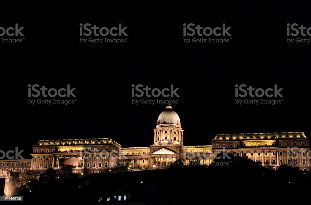 Royal castle at night, Budapest royalty-free stock photo