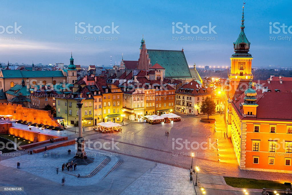 Royal Castle, Castle Square with Sigismund's Column, Warsaw, Poland stock photo