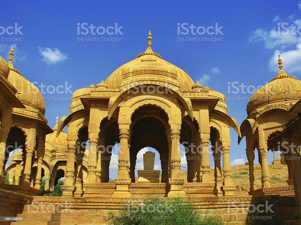 Royal cenotaphs of Bada Bagh in Jaisalmer, the magnificent royalty-free stock photo