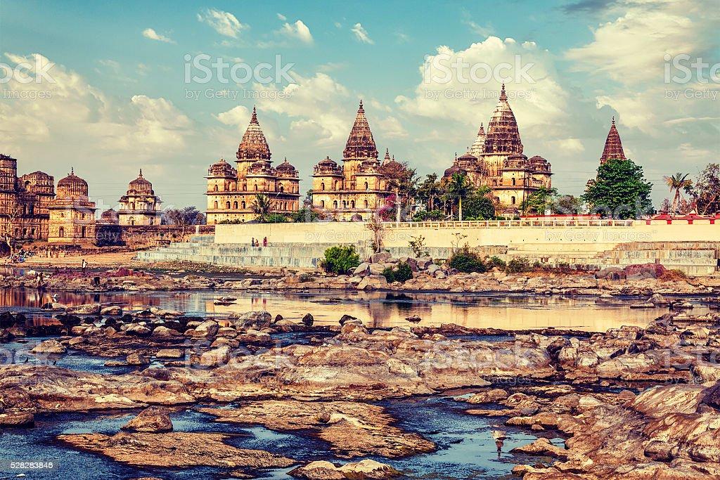 Royal cenotaphs of Orchha,  Madhya Pradesh, India stock photo