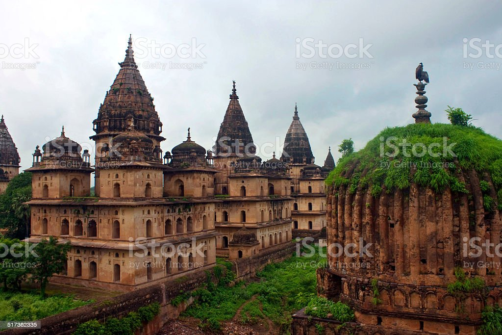 Royal cenotaphs of rulers in Orchha stock photo