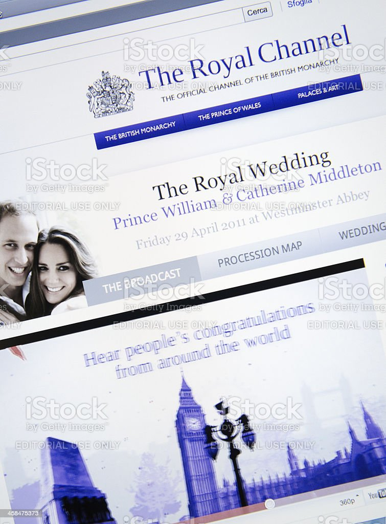 Royal channel on youtube.com stock photo