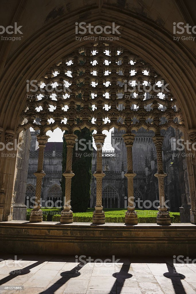 Royal Cloister of Batalha Abbey in Portugal royalty-free stock photo