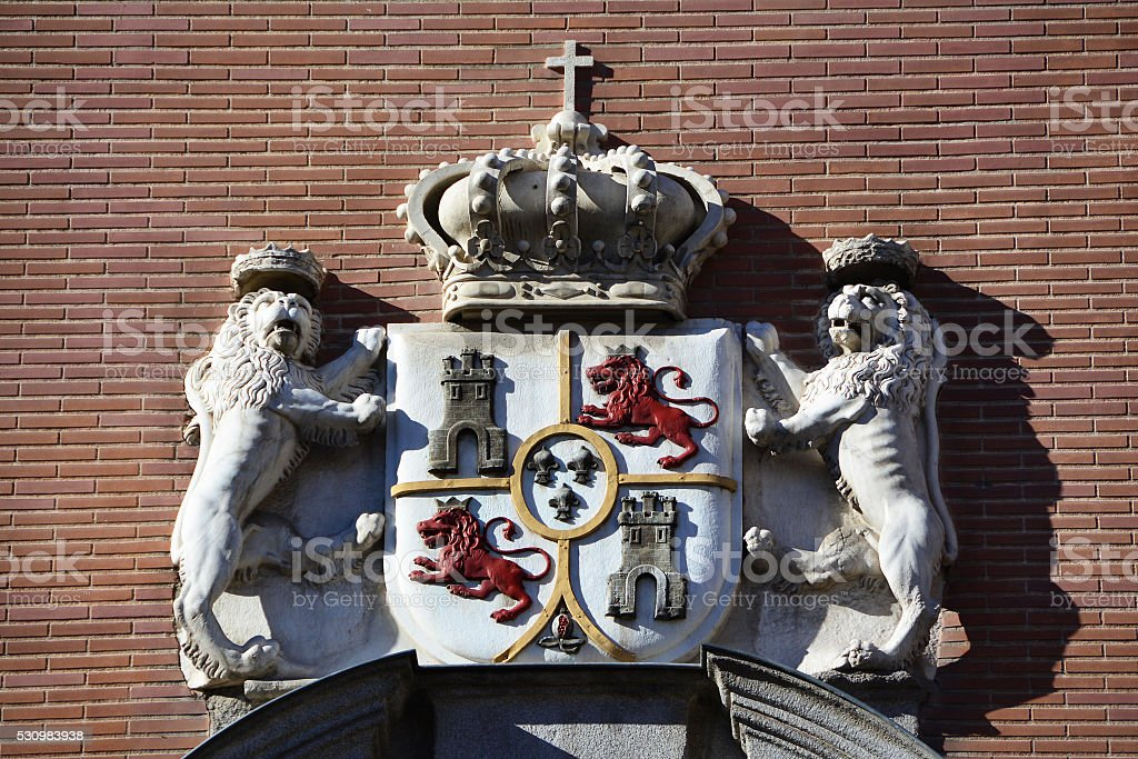 Royal coat of arms, Madrid stock photo