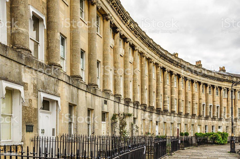 Royal Crescent Homes of Bath, England stock photo