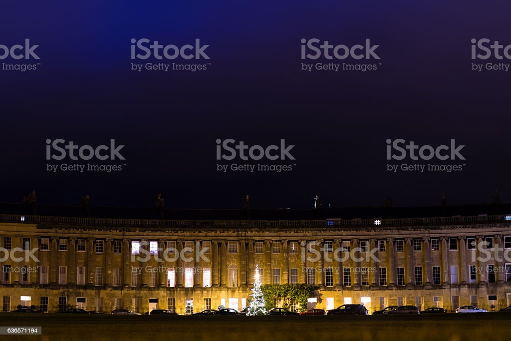 Royal Crescent in Bath with Christmas Tree stock photo